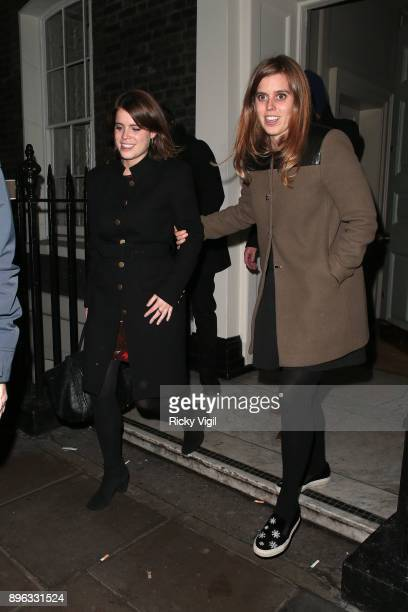 Princess Eugenie of York and Princess Beatrice of York seen on a night out leaving Soho House on December 20 2017 in London England