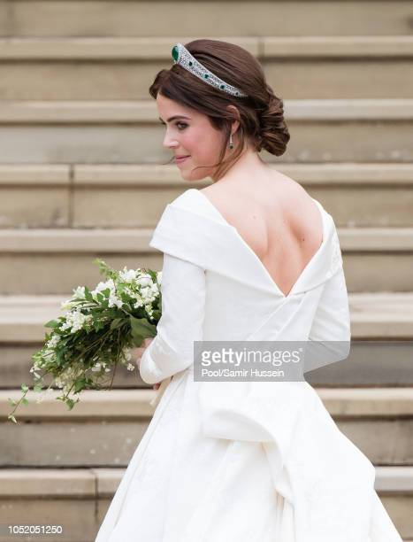 Princess Eugenie of York arrives at St George's Chapel in Windsor Castle ahead of her wedding with Jack Brooksbank at St George's Chapel on October...