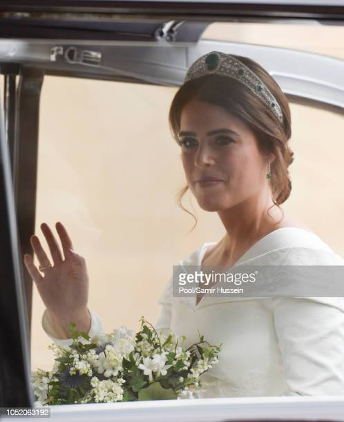 Princess Eugenie of York arrives at St George's Chapel in Windsor Castle ahead of her wedding with Jack Brooksbank at St. George's Chapel on October...