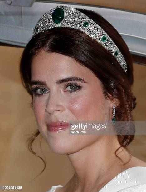 Princess Eugenie of York arrives for her marriage to Jack Brooksbank at St George's Chapel, Windsor Castle on October 12, 2018 in Windsor, England.