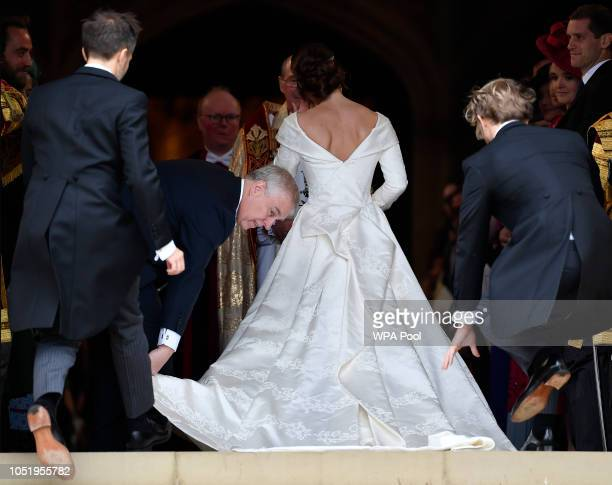 Princess Eugenie of York arrives for the wedding of Princess Eugenie of York to Jack Brooksbank at St George's Chapel on October 12 2018 in Windsor...