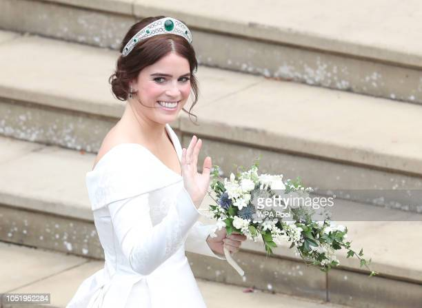 Princess Eugenie of York arrives to be wed to Mr Jack Brooksbank at St George's Chapel on October 12 2018 in Windsor England