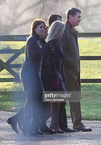 Princess Eugenie of York attends a Christmas Day church service at Sandringham on December 25 2014 in King's Lynn England