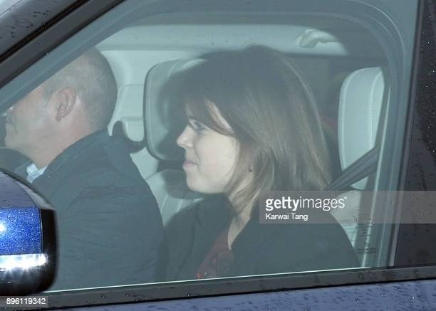 Princess Eugenie of York attends a Christmas lunch for the extended Royal Family at Buckingham Palace on December 20 2017 in London England