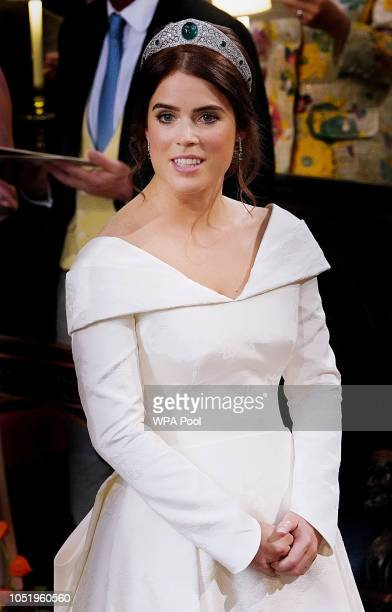 Princess Eugenie of York attends her wedding to Jack Brooksbank at St George's Chapel on October 12 2018 in Windsor England