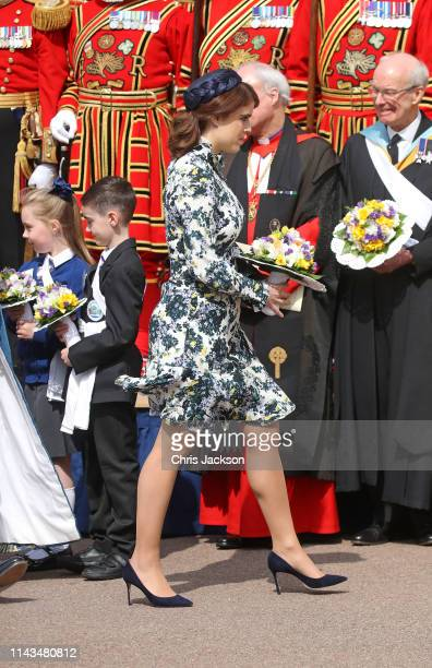 Princess Eugenie of York attends the traditional Royal Maundy Service at St George's Chapel on April 18 2019 in Windsor England