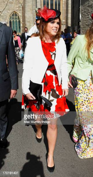Princess Eugenie of York attends the wedding of Lady Natasha Rufus Isaacs and Rupert Finch at the church of St John the Baptist on June 8 2013 in...