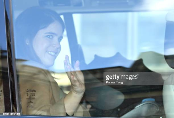 Princess Eugenie of York departs the Portland Hospital for Women on February 12, 2021 in London, United Kingdom. Princess Eugenie was safely...
