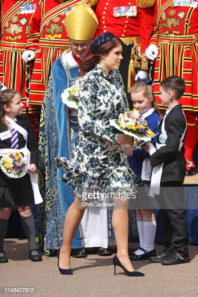 Princess Eugenie of York departs the traditional Royal Maundy Service at St George's Chapel on April 18 2019 in Windsor England