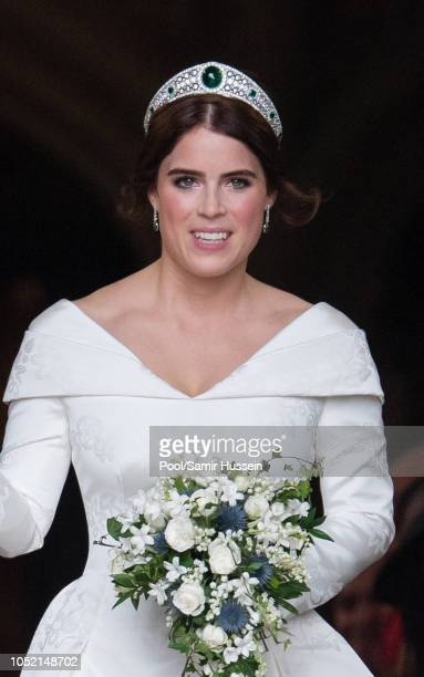 Princess Eugenie of York leave St George's Chapel after getting married to Jack Brooksbank in Windsor Castle following their wedding at St. George's...