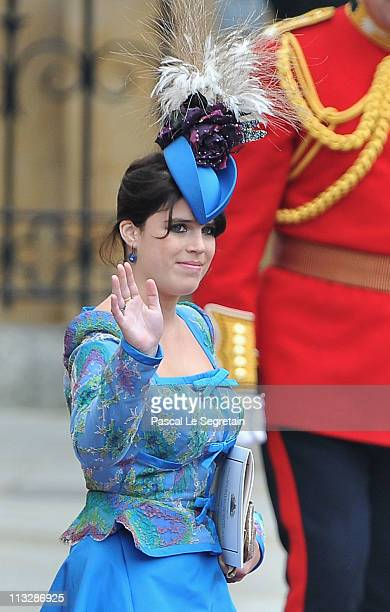 Princess Eugenie of York leaves the Abbey following the marriage of Their Royal Highnesses Prince William Duke of Cambridge and Catherine Duchess of...