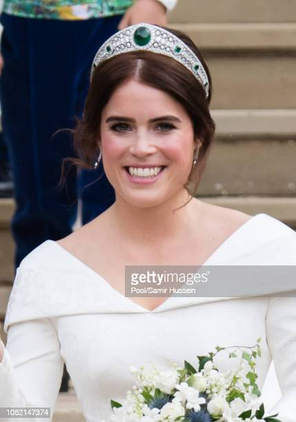 Princess Eugenie of York leavs St George's Chapel in Windsor Castle following her wedding at St George's Chapel on October 12 2018 in Windsor England