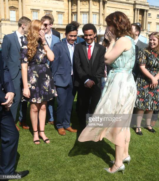 Princess Eugenie of York meets young recipients of the award during the Duke of Edinburgh Gold Award presentations at Buckingham Palace on May 22...