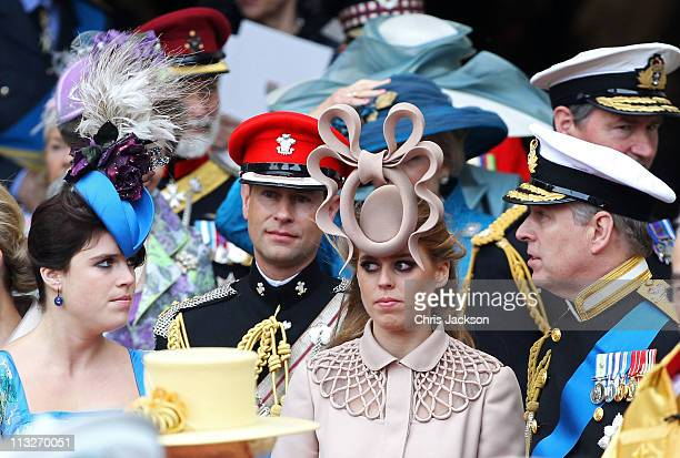 Princess Eugenie of York, Prince Edward, Earl of Wessex, Princess Beatrice of York and Prince Andrew, Duke of York following the marriage of Prince...