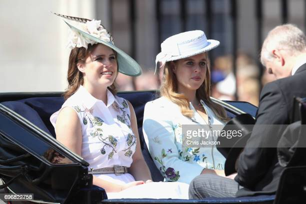Princess Eugenie of York Princess Beatrice of York and Prince Andrew Duke of York arrive for the annual Trooping The Colour parade on June 17 2017 in...