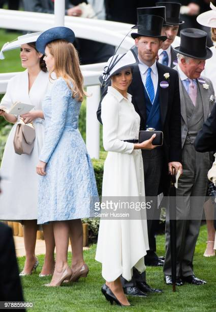 Princess Eugenie of York Princess Beatrice of York Meghan Duchess of Sussex and Prince Harry Duke of Sussex and Prince Charles Prince of Wales attend...