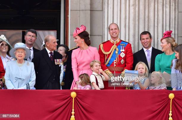 Princess Eugenie of York Queen Elizabeth II Vice Admiral Timothy Laurence Prince Philip Duke of Edinburgh Catherine Duchess of Cambridge Princess...