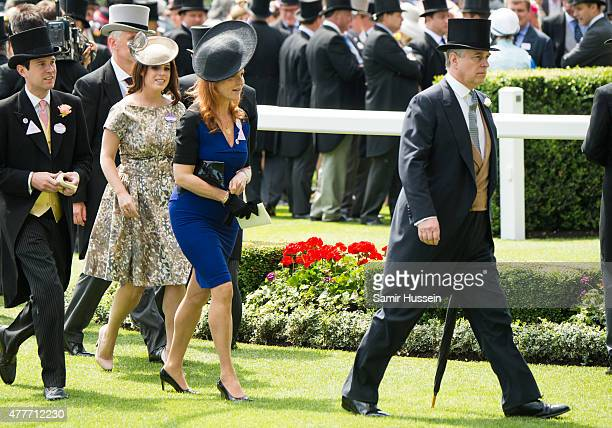 Princess Eugenie of York Sarah Ferguson and Prince Andrew Duke of York attend day 4 of Royal Ascot at Ascot Racecourse on June 19 2015 in Ascot...