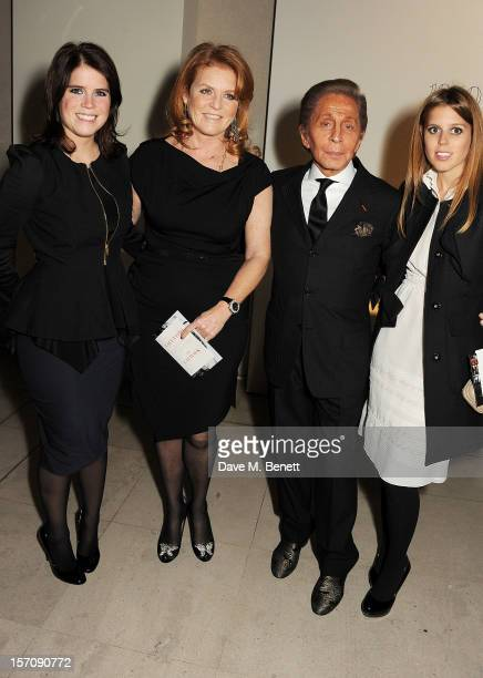 Princess Eugenie of York Sarah Ferguson Duchess of York Valentino Garavani and Princess Beatrice of York attend a private view of 'Valentino Master...