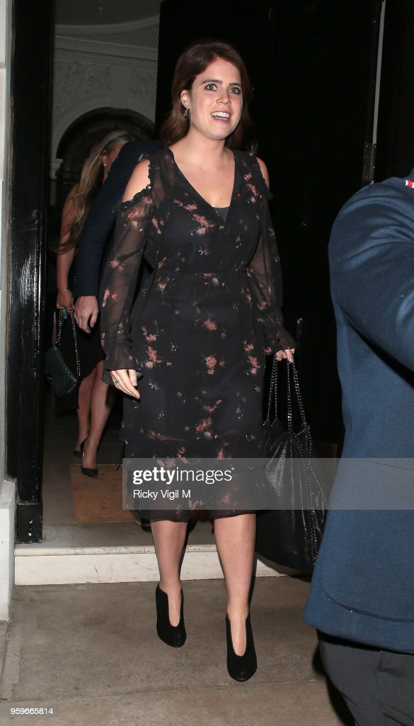 Princess Eugenie of York seen on a night out at Annabel's club in Mayfair on May 17, 2018 in London, England.
