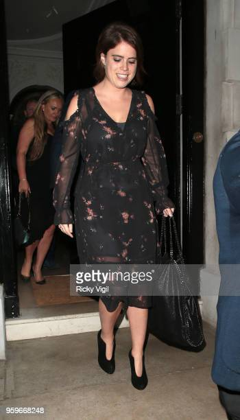 Princess Eugenie of York seen on a night out at Annabel's club in Mayfair on May 17 2018 in London England