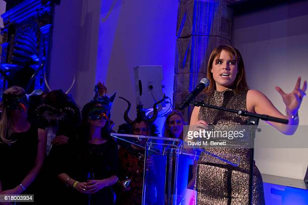 Princess Eugenie of York speaks during the opening night of 'Conservation Couture The Animal Ball Collection' in aid of Elephant Family and supported...