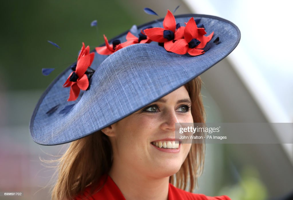 Princess Eugenie of York wears a Bundle MacLaren Millinery headpiece during day three of Royal Ascot at Ascot Racecourse.