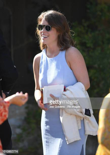 Princess Eugenie outside St Mary the Virgin Church in Frensham Surrey after attending the wedding of Charlie van Straubenzee and Daisy Jenks