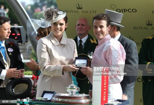 Princess Eugenie presents to winner of the Ascot Stakes jockey Fran Berry on Domination during Day One of the 2014 Royal Ascot Meeting at Ascot...
