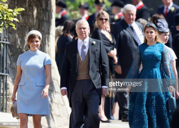 Princess Eugenie Prince Andrew Duke of York and Princess Beatrice attend the wedding of Prince Harry to Ms Meghan Markle at St George's Chapel...