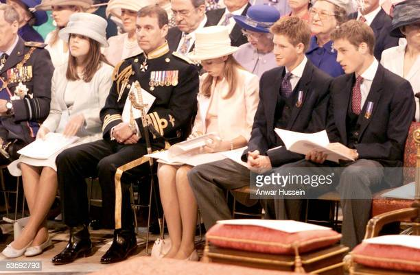 Princess Eugenie Prince Andrew Princess Beatrice Prince William and Prince Harry attend the service in celebration of the Queen's Golden Jubilee at...