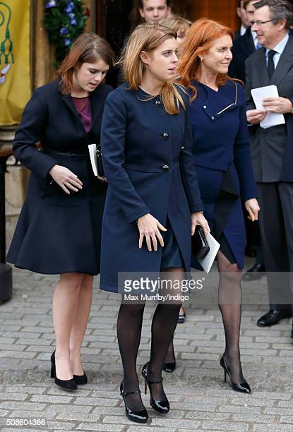 Princess Eugenie Princess Beatrice and Sarah Ferguson Duchess of York attend a memorial service for Miles Frost at Arundel Cathedral on February 5...