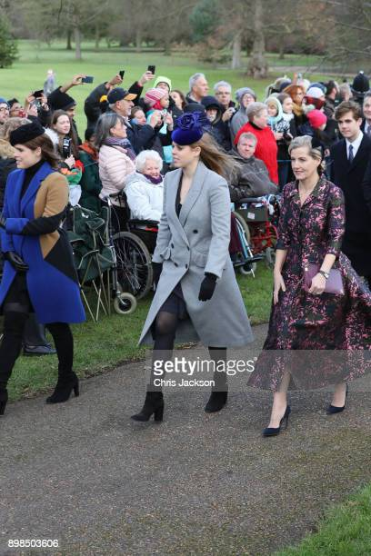 Princess Eugenie Princess Beatrice and Sophie Countess of Wessex attend Christmas Day Church service at Church of St Mary Magdalene on December 25...