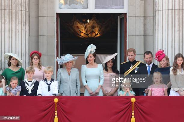 Princess Eugenie Princess Beatrice Camilla Duchess Of Cornwall Catherine Duchess of Cambridge Meghan Duchess of Sussex Prince Harry Duke of Sussex...