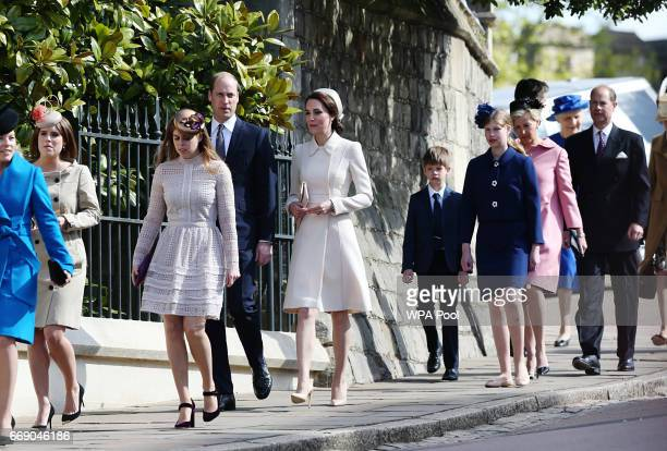 Princess Eugenie Princess Beatrice Prince William Duke of Cambridge and Catherine Duchess of Cambridge James Viscount Severn Lady Louise Windsor...