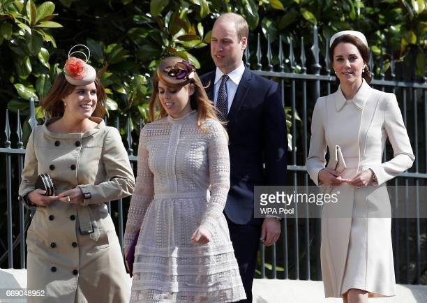 Princess Eugenie Princess Beatrice Prince William Duke of Cambridge and Catherine Duchess of Cambridge attend the Easter Day service at St George's...