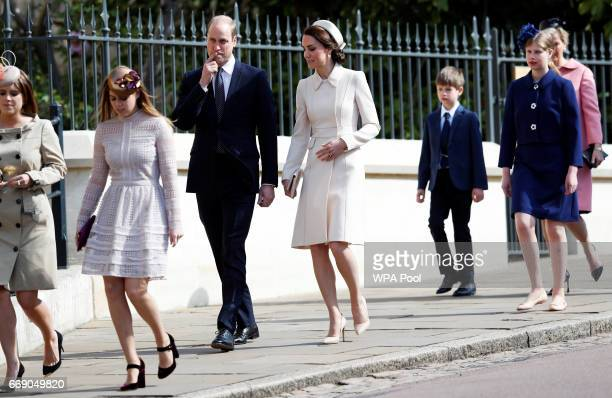 Princess Eugenie Princess Beatrice Prince William Duke of Cambridge and Catherine Duchess of Cambridge James Viscount Severn Lady Louise Windsor and...