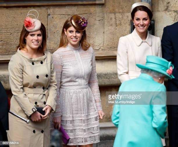 Princess Eugenie Princess Beatrice Queen Elizabeth II and Catherine Duchess of Cambridge attend the traditional Easter Sunday church service at St...