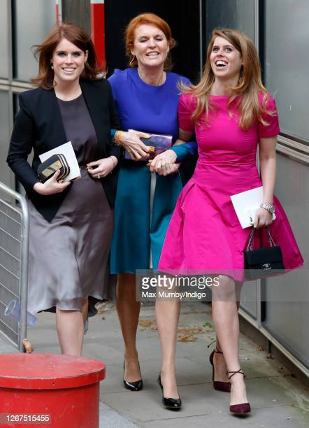 Princess Eugenie, Sarah Ferguson, Duchess of York and Princess Beatrice attend the wedding of Petra Palumbo and Simon Fraser, Lord Lovat at St...