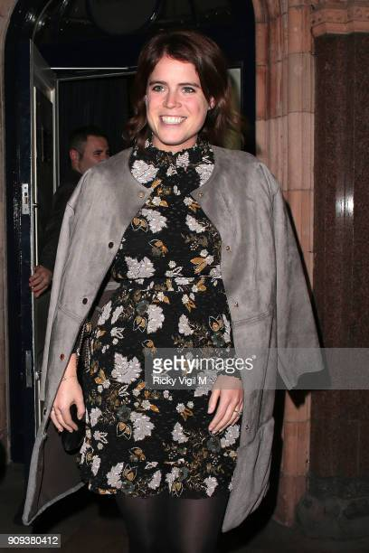 Princess Eugenie seen on a night out leaving George club in Mayfair on January 23 2018 in London England