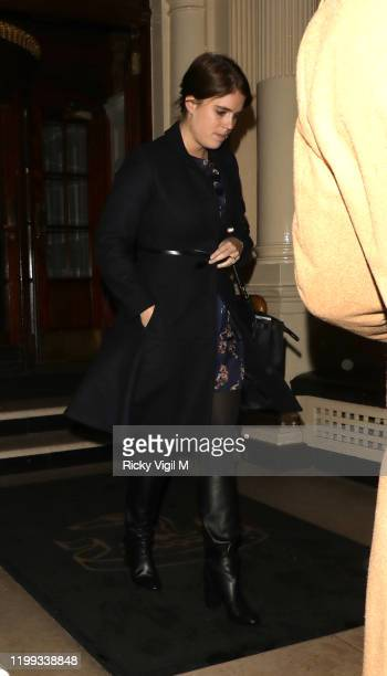 Princess Eugenie seen on a night out leaving The Connaught Hotel on January 13, 2020 in London, England.
