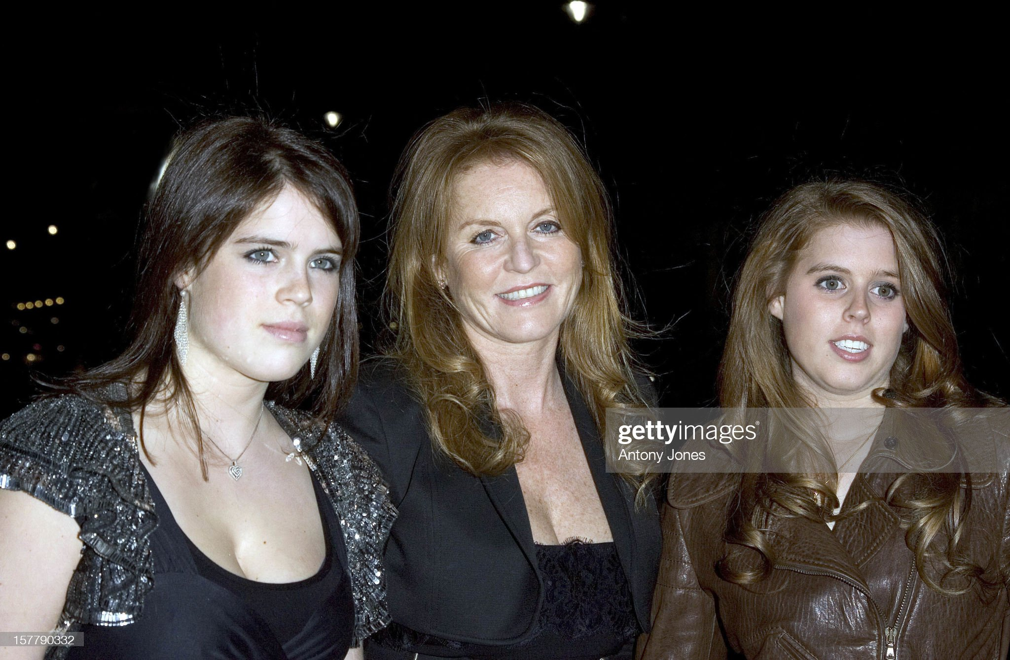 Princess Eugenie, The Duchess Of York, And Princess Beatrice Arrive At The Fireh : News Photo