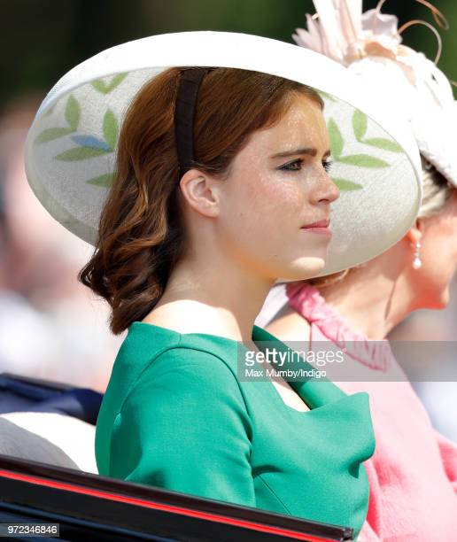 Princess Eugenie travels down The Mall in a horse drawn carriage during Trooping The Colour 2018 on June 9 2018 in London England The annual ceremony...