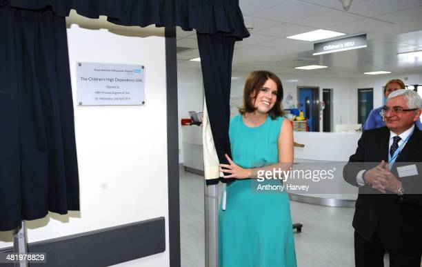 Princess Eugenie with Professor Anthony Goldstone during a visit to Royal National Orthopaedic Hospital on April 2 2014 in Stanmore Greater London...