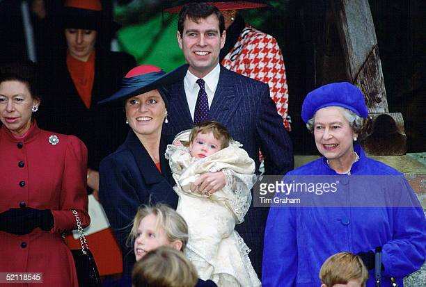 Princess Eugenie's Christening At Sandringham Church From Left Princess Margaret Duchess Of York Holding Princess Eugenie Prince Andrew And The Queen...