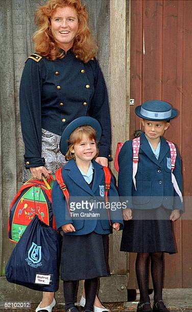 Princess Eugenie's First Day At Upton House School In Windsor. Her Sister, Princess Beatrice, Accompanies Her.