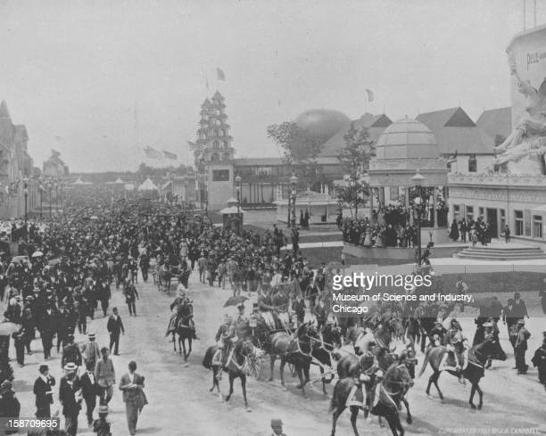 Princess Eulalia of Spain and her escort entering the Midway Plaisance at the World's Columbian Exposition in Chicago Illinois on Eulalia Day June 8...