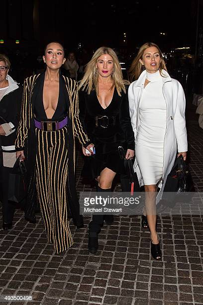Princess Ezurin Khyra Hofit Golan and Victoria Bonya are seen outside of the BALMAIN X HM Collection launch event at 23 Wall Street on October 20...