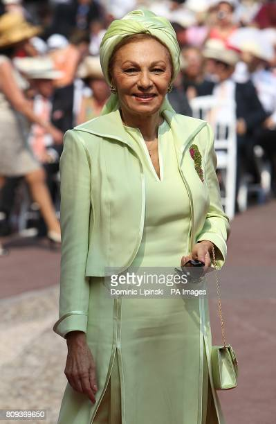 Princess Farah Pahlavi of Iran arriving for the wedding of Prince Albert II of Monaco and Charlene Wittstock at the Place du Palais