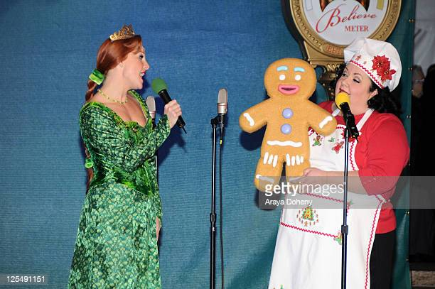 Princess Fiona and Gingy the Gingerbread Man from Shrek the Musical perform at the Macy's Great Tree Lighting Ceremony on November 26, 2010 in San...